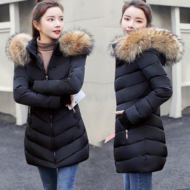 נשים של חורף מעיל מלאכותי גדול פרווה צווארון נשי דק מעיל ארוך מעיל הלבשה עליונה חורף מעיל parka s-4XL