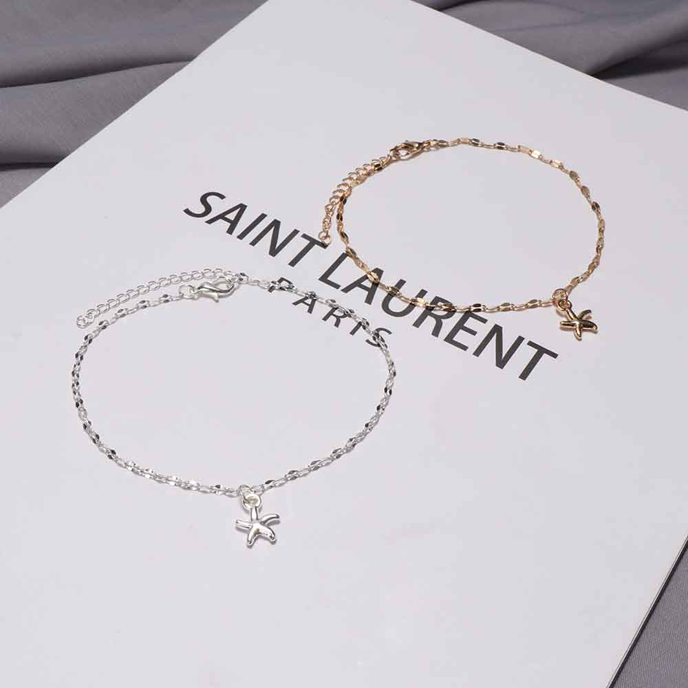 1pc Fashion Women Gold Silver Plated Starfish Ankle Chain Anklet Bracelet New Foot Bracelet Jewelry