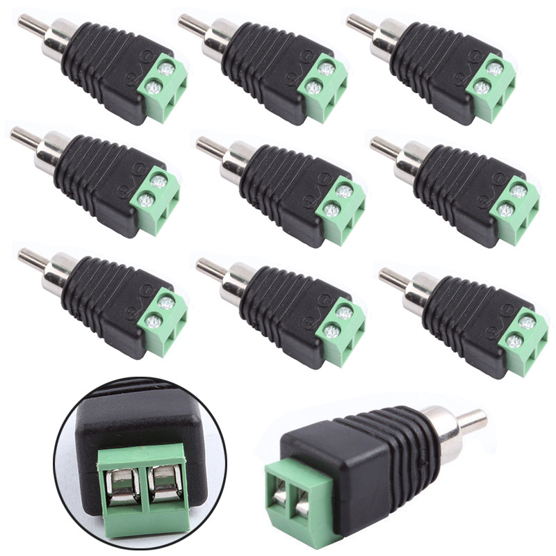 New Arrival 10Pcs Phono Speaker Wire Cable To Audio Male RCA Connector Professional RCA To Terminal Block Adapter