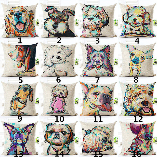 2018 Square Cotton Linen  Painted Bull dog dachshund 3D Cheap Cushion Cover For Home decor  Sofa Pillow Cover Cojines