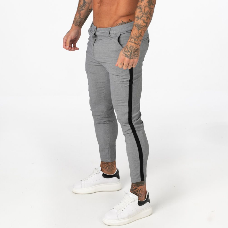 Gingtto Men Chino Pants Slim Fit Men Skinny Chino Pants Grey Plaid Tight Fit Super Stretch Ankle Length Casual Pant W32 Zm354