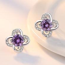 Женские серьги гвоздики из серебра 925 пробы с блестящими кристаллами