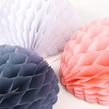 3pcs  8(20cm) Lace Trim (White,Pink,Grey) Snowball Puff Decorations Tissue Paper Honeycomb Balls Wedding Birthday Decor