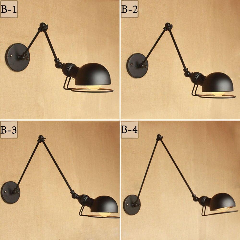 New Vintage industrial style loft creative minimalist long arm wall lamp adjustable Handle Metal Rustic Light