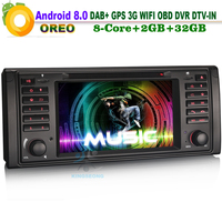 8 Core Android 8.0 CD Head Unit Sat Navi DAB+ Radio 3G DVD DTV IN CAM IN DVD AUX OBD Car GPS Navigation FOR BMW E39 X5 E53 M5