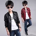 2016 Faux Leather Jacket Boys Outwear Jaqueta De Couro Menino Children Kids Casual Coat Autumn PU Leather Jacket For Boy TZ75