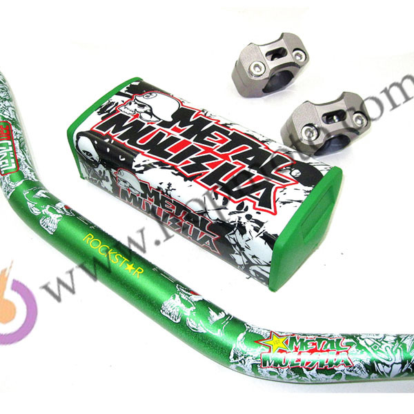 "Pro Caken Fat Bar Metal Mulisha Pack 1- 1/8"" Dirt bike Pit bike Green Colour Handlebars Motocross MX Racing Handlebar"