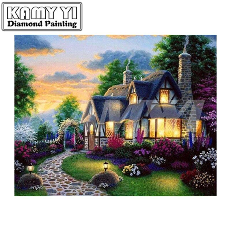 Купить 5d diy алмазная вышивка крестом дом полностью квадратная цветок