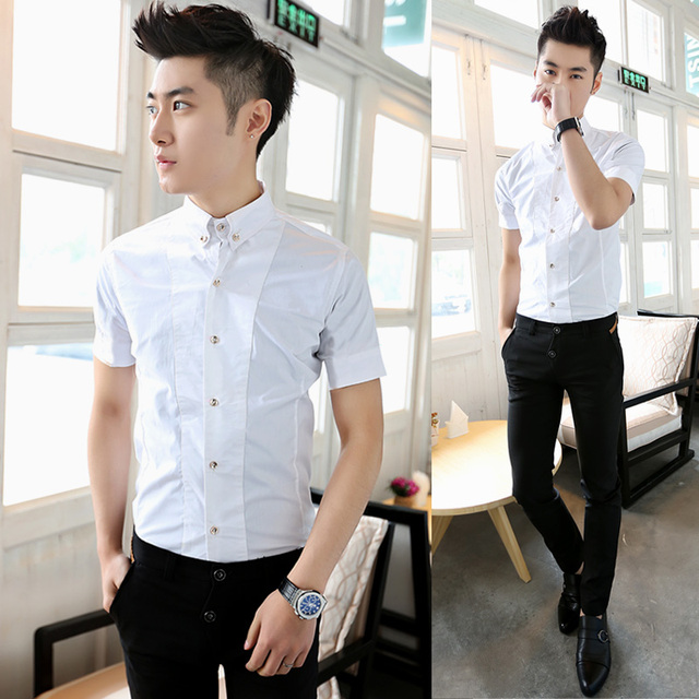 Free Shipping Luxury Fashion Metal Buckle White Shirt Summer Boys