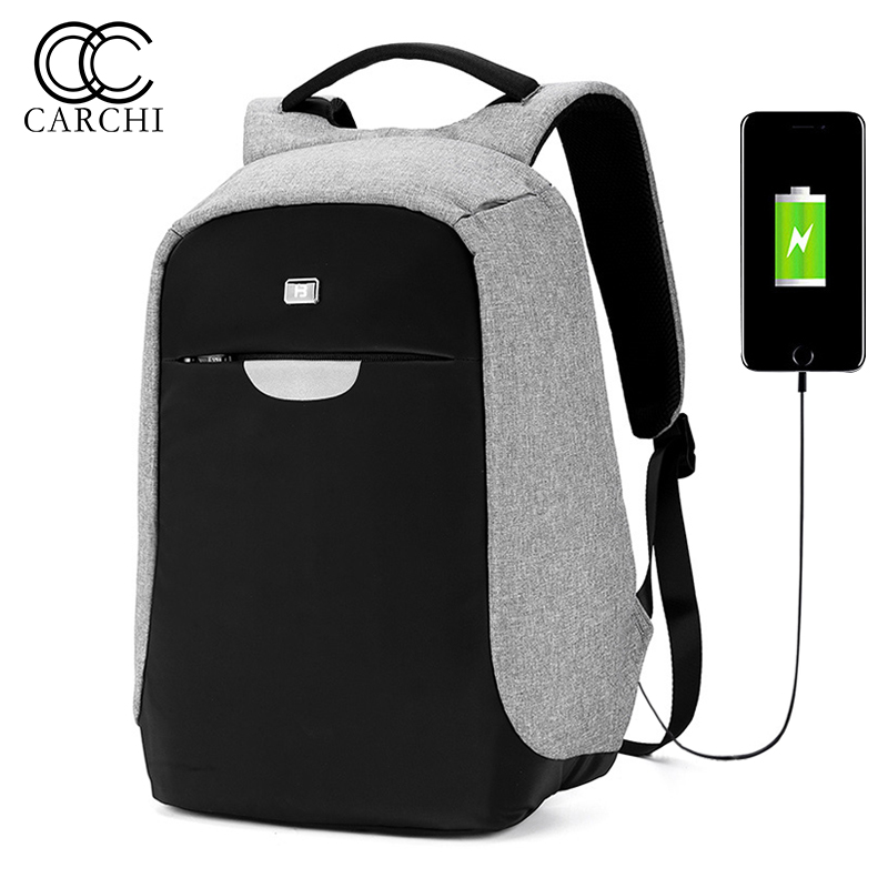 CARCHI USB Charge Backpack For men Back Bag Anti Theft 14 Inch Laptop Backpack Waterproof Bag Night Safety Reflective Backpack