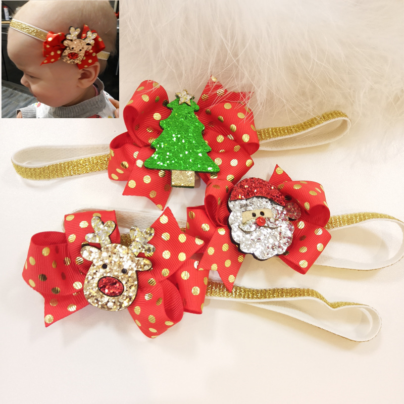 2019 Christmas Girls Headband Tree Santa Claus Deer Kids Cartoon Head Band Lovely Hair Accessories Baby Christmas Gift
