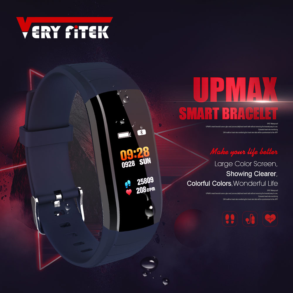 UPmax Smart Band Music Control Fitness Tracker Heart Rate Monitor Blood Pressure Wristband Smart Bracelet for Android IOS jakcom smart band s18 heart rate blood pressure monitor smart wristband fitness tracker bracelet for android ios s18 smartwatch