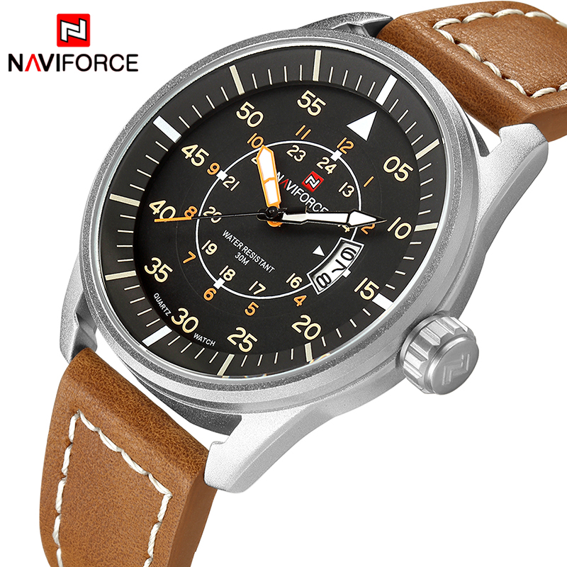 2018 NAVIFORCE Top Brand Luxury Men Leather Army Military Watches Men's Quartz Date Clock Male Fashion Casual Sport Wrist Watch