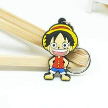 1PCS PVC Anime Keychain Fashion Bag Chain Luffy SON GOKU Naruto Joba Cartoon Key Ring Women Children Key Chain Holder(China)
