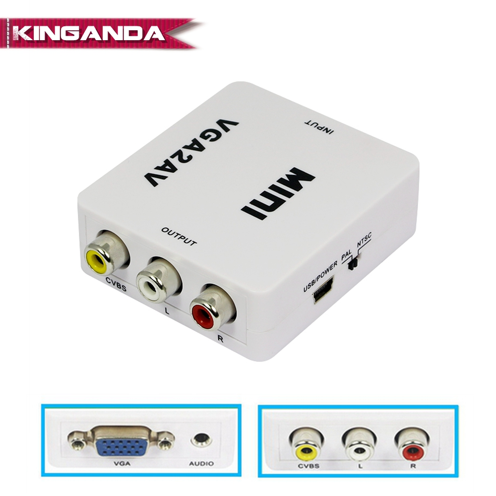 1080P Mini VGA to AV RCA Converter with 3.5mm Audio VGA2AV/CVBS Adapter for PC to HD TV Convert NTSC PAL SXGA 1920x1080 60 fps vga av converter vga to tv av rca signal adapter converter video switch box supports ntsc pal system