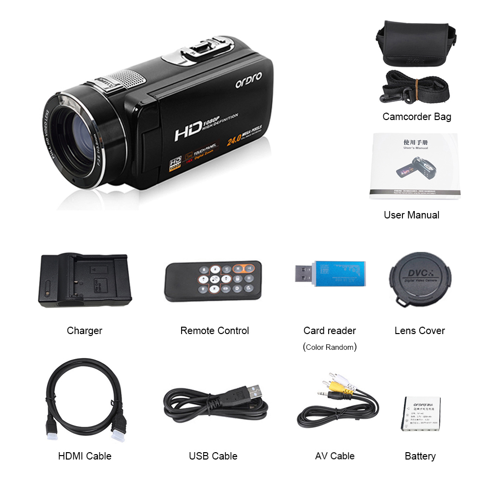 """Ordro Camcorder HDV-Z8 Plus 1080P FHD Digital Video Camera 3.0"""" LCD Touch Screen with Remote Control USB Port HDMI Output 13"""