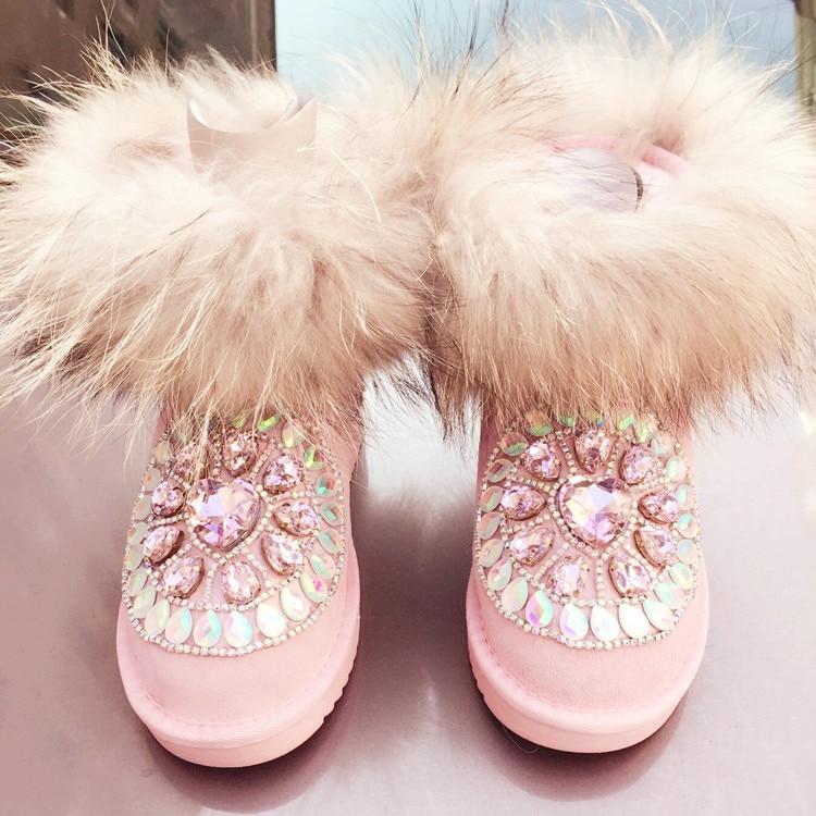 100% Nature Leather Fox Fur Winter Snow Boots Mid-Calf Top Quality Warm Shoes Woman Botas Femininas