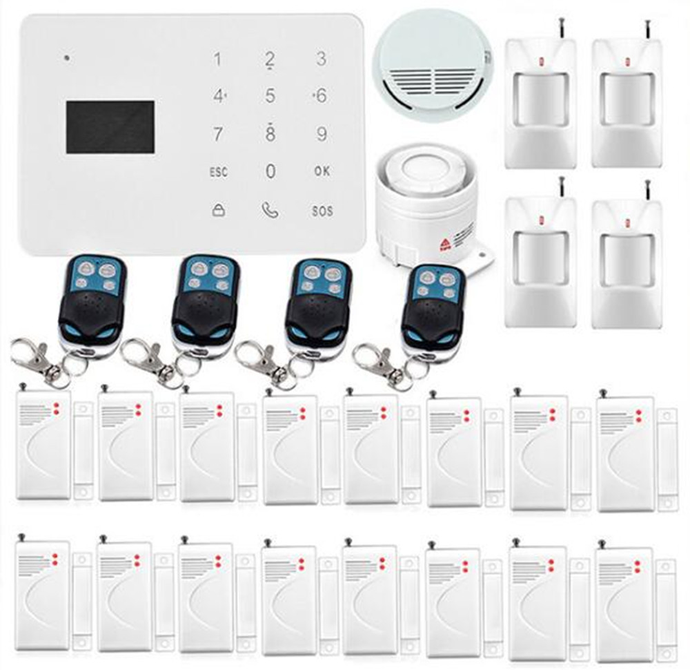 Touch Screen GSM Alarm System With Smoke Sensor 4 PIR Detector 16 Door Contact