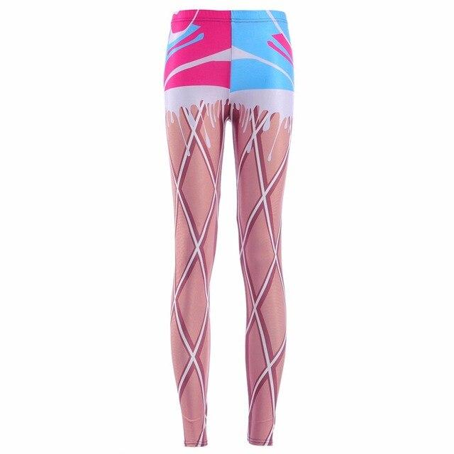 720246372843f2 New 3872 Sexy Girl Raibow ice cream cone Waffle Printed Running Fitness  Sport Women Yoga Pants Plus Size