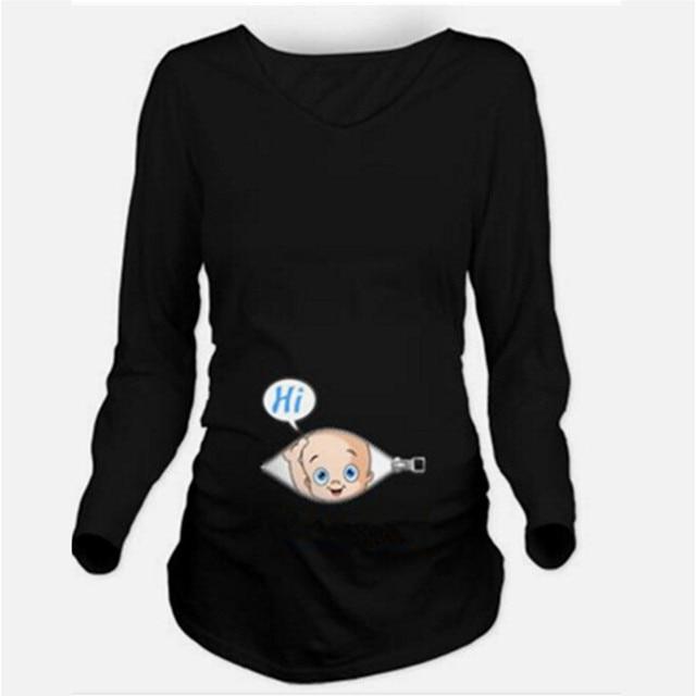 844c9973b8c37 Autumn Maternity T-shirts Tees Women Cute Maternity Clothes Tops Funny  Pregnancy Long Sleeve T shirts Pregnant Women Plus Size