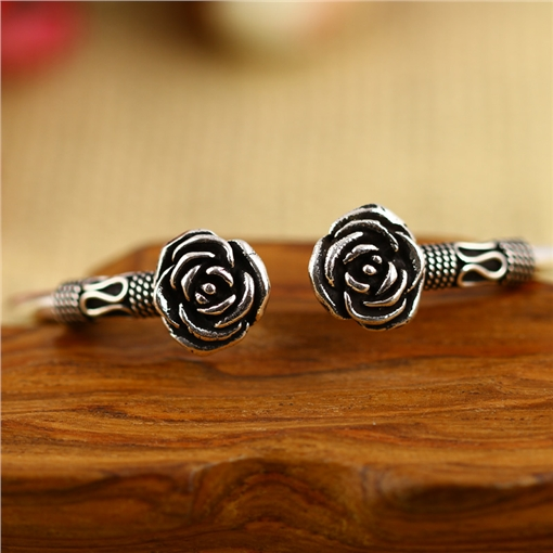 High quality thai silver 925 pure silver rose bracelet female silver hand ring vintage fashion 925 pure silver jewelry vintage green natural stone thai silver female royal wind ring rich