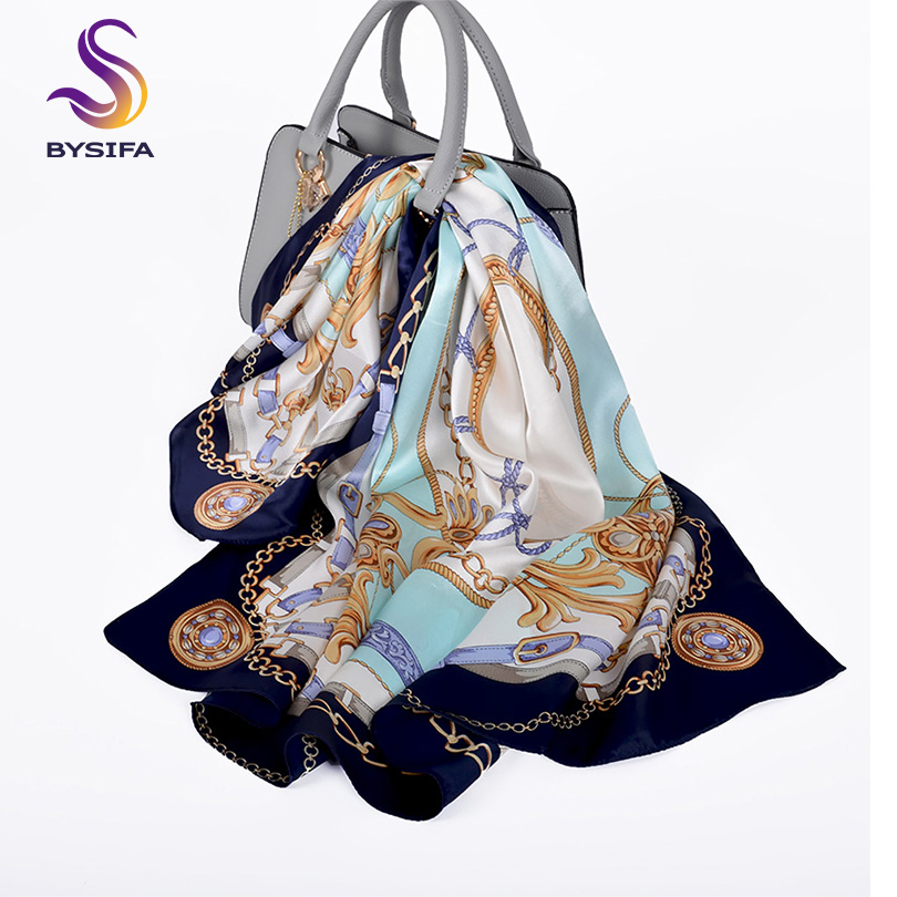 [BYSIFA] New Brand Natural Silk   Scarf   Shawl Bandana Women Fashion Chain Head   Scarf   Blue Large Square   Scarves     Wraps   Bufanda