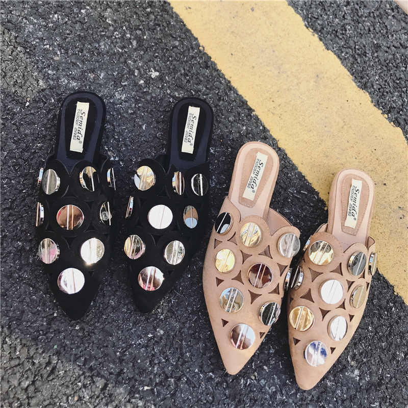 famous designer metal disk slippers women pointed toe sandals big sequined gladiator sandalias women cut out flip flops 194