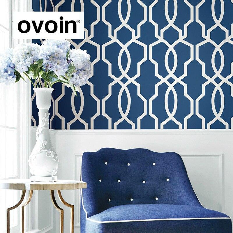 Gris, Bleu Géométrique Papier Peint Moderne Gris Mur Papier Roll Treillis Plaid Revêtement Mural Salon Chambre Bureau Décor