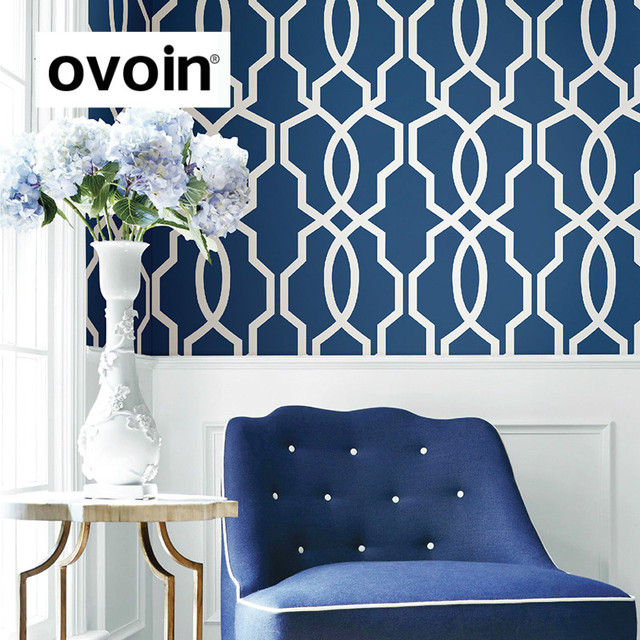 Navy Blue Geometric Wallpaper Light Grey Modern Green Wall Papers Roll  Yellow Beige Wall Covering For