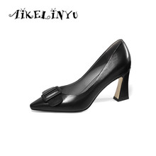 AIKELINYU 2019 Women Pumps High Heels 7.5Cm Black Bow Square Heel Sexy Pointed Toe Party Shoes Ladies Big Size 35-43