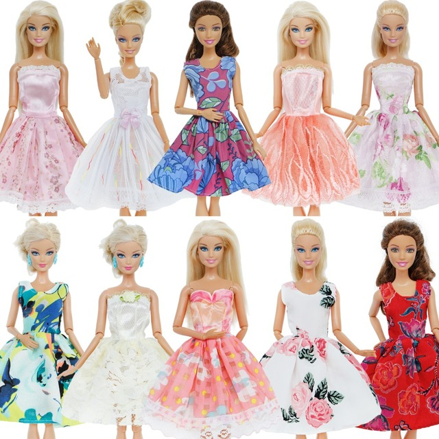 Fashion 5 Pcs Dress Mix Color Wedding Party Gown Mixed Style Princess Lace Skirt  Accessories Clothes For Barbie Doll Gift Toy 4036d1107713