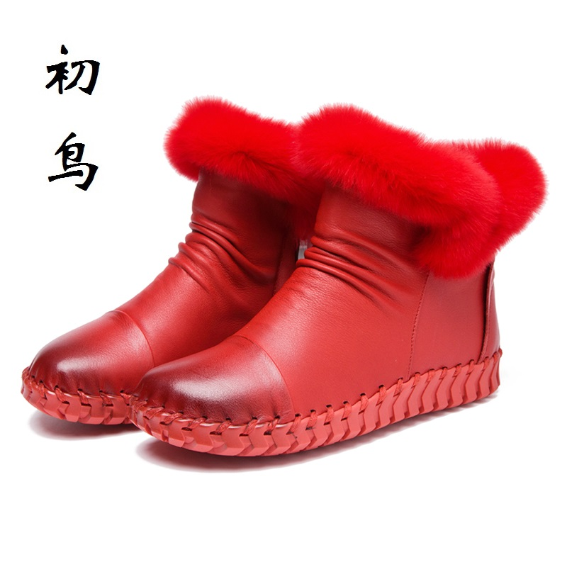 2017 Handmade Sewing Fashion Genuine Leather Flat Ankle Winter Women Boots Warm Ladies Leisure Shoes Woman Chaussure Femme whensinger 2017 new women fashion boots genuine leather fashion shoes rubber sole hands sewing 2 color 7126