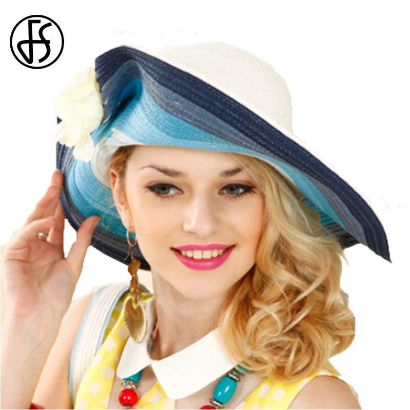 FS Summer Hat For Women Blue Wide Large Brim Beach Sun Hats Elegant Straw Hats Uv Visors Caps Chapeau Femme Sent Handbag 2017 fashion summer girls kids children cap princess rose flower decor straw beach sun wide brim hat