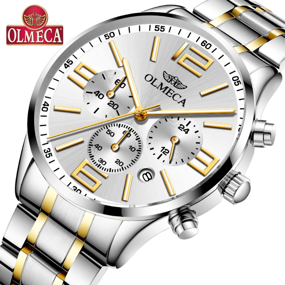 Mens Watches Top Brand OLMECA Luxury Fashion Stainless Steel Wristwatch Casual Quartz Watch Analog Chronograph Relogio Masculino