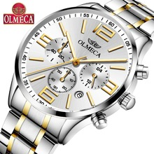 Mens Watches Top Brand OLMECA Luxury Fashion Stainless Steel Wristwatch Casual