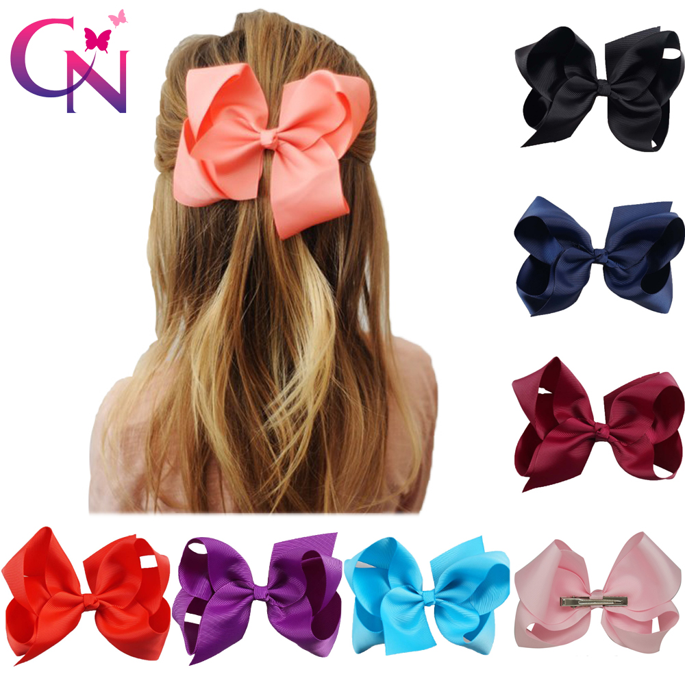 30 Pcs/lot 6 Plain Ribbon Knotted Hair Bow With Clip For Kids Girls Handmade Boutique Hair Accessories With Clip Headwear halloween party zombie skull skeleton hand bone claw hairpin punk hair clip for women girl hair accessories headwear 1 pcs