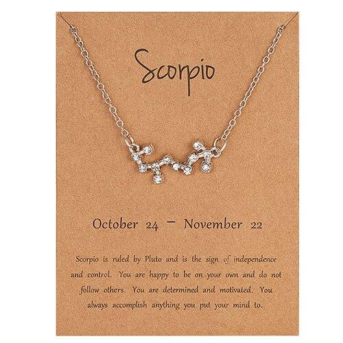 Rinhoo трендовые блестящие хрустальные звёздные Знаки зодиака 12 созвездий подвески ожерелья женские элегантные серебряные ожерелья-чокер ювелирные изделия - Окраска металла: 10