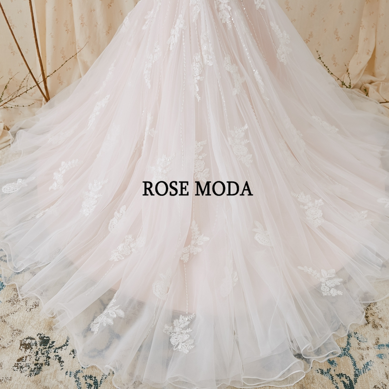 Купить с кэшбэком Rose Moda Sparkling Lace Mermaid Wedding Dress Pink Wedding Dresses with Lace Real Photos
