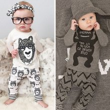 Wholesale Children Suits Summer Style Baby Clothes Monsters Printing Infant Clothes Long Sleeve Boy Clothes Set Shirt + Pants