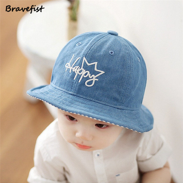 6063bfa5f6f03 Blue Boys Girls Jeans Hats Baby Cartoon Happy Letter Hats Children Spring Summer  Sun Hats Infants Bucket Caps Denim Casual Hats