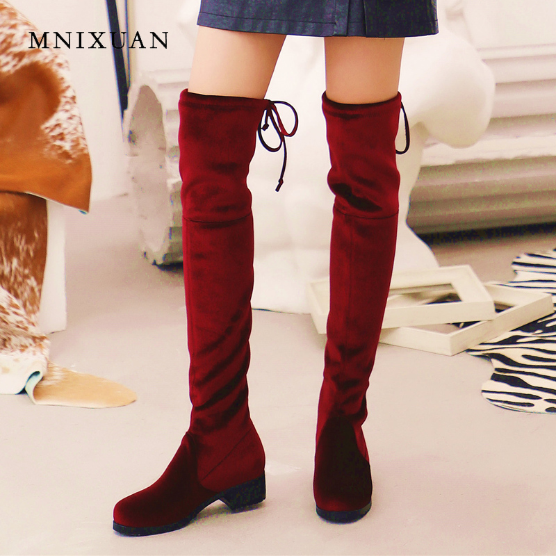 MNIXUAN women shoes thigh high sock boots over the knee boots 2018 gold velvet round toe stretch elastic long boots big size 42