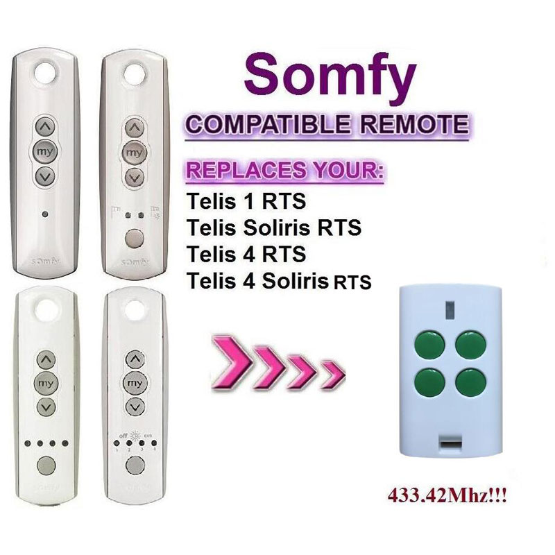 FOR Somfy Telis 4 RTS, Somfy Telis 4 Soliris RTS compatible garage door remote control top quality somfy telis 4 rts somfy telis 4 soliris rts compatible garage door remote control 433 42mhz free shipping