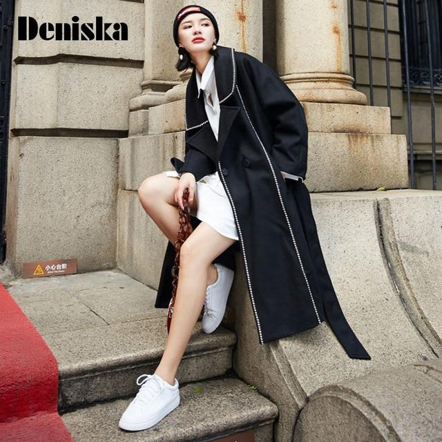 Warm black wool coat