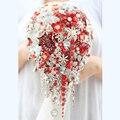 Невесты Падение Брошь букет на заказ Свадебные красный и белый Ювелирные Изделия Невесты свадебные букеты Teardrop кисточкой с цветами в руках