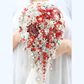 Bride Drop Brooch bouquet custom made Wedding red & white Jewelry Bride 's bridal bouquets Teardrop tassel holding flowers