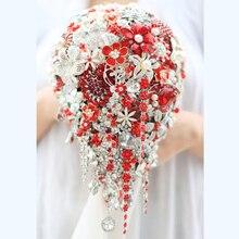 Bride Drop Brooch bouquet custom made Wedding red & white Jewelry Bride 's bridal bouquets Teardrop tassel holding flowers