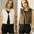 2016 Lady fur vest new autumn winter women warm jacket Fashion Slim female coat short paragraph Multicolor faux rabbit fur vest