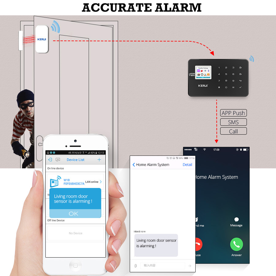 Image 5 - KERUI W18 WIFI GSM Alarm Systems Security Home Wireless Smart Home Security Alarm APP Control Pet friendly Motion Detector Kits-in Alarm System Kits from Security & Protection