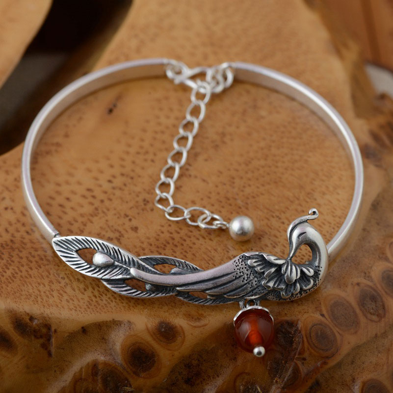цена FNJ 925 Silver Peacock Bangle Pure S925 Thai Sterling Silver Bangles for Women Jewelry white red yellow blue Crystal Bracelet