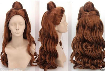 Disney Cosplay  Beauty and The Beast Cartoon Princess Belle Wig Synthetic Long Curly Wig Auburn Brown Cosplay Anime Wig Ponytail